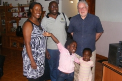 Hosting family friend Prof Mark Ball at home in Kampala