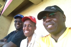 Attending football  match with Justice Mike Chibita and wife